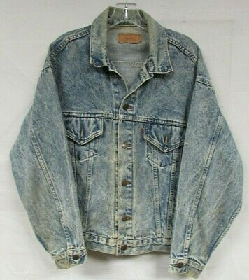 VINTAGE LEVI STRAUSS DENIM JACKET MENS LARGE BLUE 80s 90s USA RED TAB COTTON