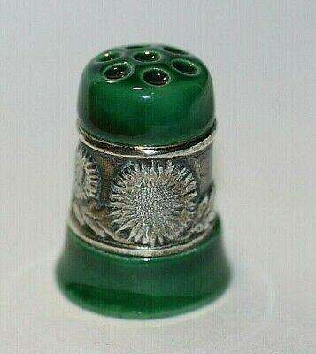 Solid Silver & Pottery Thimble
