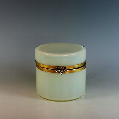 Antique French Off White Opaline Glass and Ormolu Box