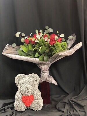 """14"""" Rose Bear Grey/anniversary Wedding Mother's Day Gift With Box"""