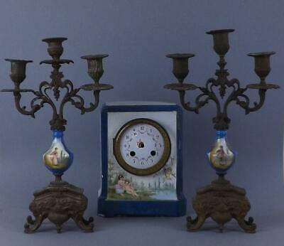 Antique French Sevres Handpainted Porcelain Clock and Bronze Candelabrum Set