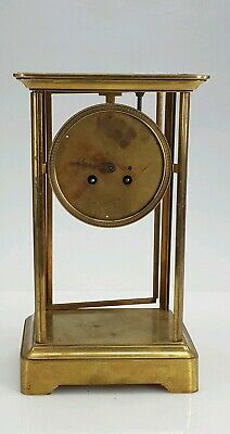 Large Antique 4 Glass Sided Brass Clock Case - /No Glass