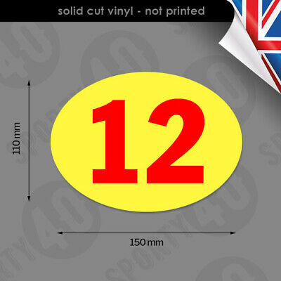 Oval Race Number - 150x110mm - 2 x Vinyl Decals / Stickers - 4103-0119