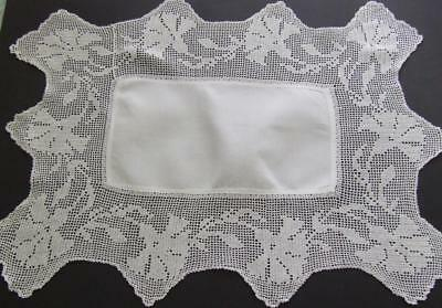 White Antique Cotton Table Centre with Deep Filet Crocheted Carnation Edging
