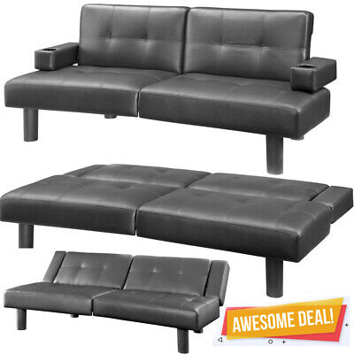 BLACK TUFTED FAUX Leather Futon Sofa Bed Couch Cup Holder Lounge Living Room