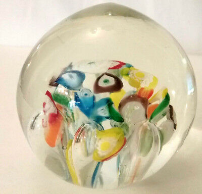 "Vintage Glass Blown Art Paperweight MILLEFIORI Floral 2.75"" diam dome top Gift"