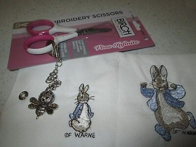 Embroidered Needle Case Peter Rabbit  & Scissors And Scissor Safe