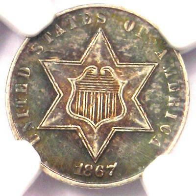 1867 Three Cent Silver Coin 3CS - Certified NGC AU Details - Rare Key Date!