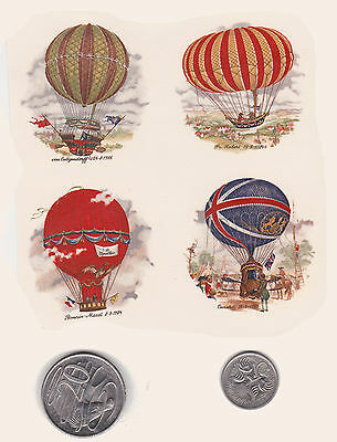 "4 x Waterslide ceramic decals Decoupage Vintage hot air balloons.  1 3/4""  #14."