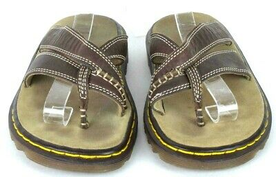 2916a5bc130a Dr Martens Brown Leather Slide Sandals Thong Flip Flops Womens Size US 5 UK  3