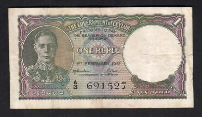 Ceylon P-30. 1941 One Rupee.. King George VI Portrait.. gVF - Crisp