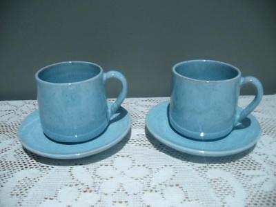 Studio Pottery Pair Of Hand Made Demitasse Cups & Saucers - Blue - Signed - Vgc