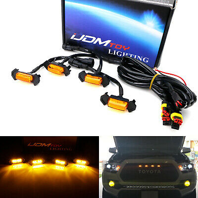 4pc Set Front Grille Lighting Kit For 2016-up Toyota Tacoma w/TRD Pro Grill ONLY