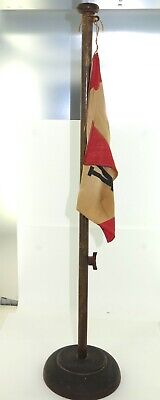 RARE EARLY 1900s MESSAGERIES MARITIMES WOODEN DESK FLAG POLE & FLAG.