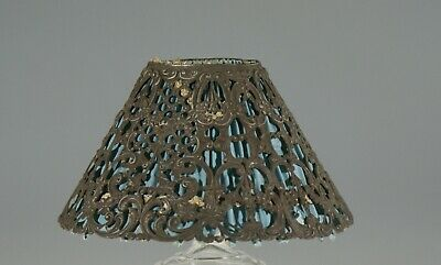Vintage Pierced Metal Candle Lamp Shade with Blue Crimped Liner c.1920