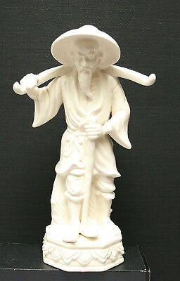 Vintage Very Fine Japanese White Porcelain Figurine Of An Old Farmer Circa 1960s