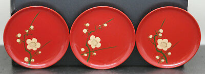 Three Vintage Japanese Hand Painted Lacquer Pin Dishes