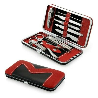 10PCS Pedicure / Manicure Set Nail Clippers Cleaner Cuticle Grooming Kit Case