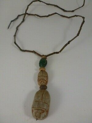 Beautiful Ancient Egyptian Faience Mummy Bead & Triple Scarab Amulet Necklace