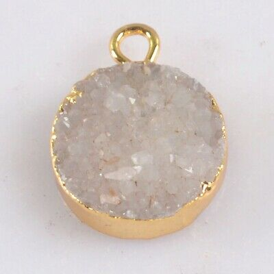 12mm Round Natural Agate Druzy Geode Charm One Bail Gold Plated T075237