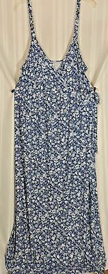NWOT Old Navy Maternity XL Blue White Floral Sundress so SOFT LONG Maxi NEW