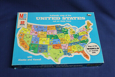 Authentic World Map.1975 Milton Bradley Puzzle Authentic Map Of The United States