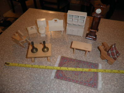 Lot of 12 Vintage Wood Dollhouse Furniture Rocking Horse Grandfather Clock +more