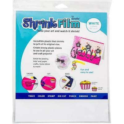 "Grafix - WHITE -  Shrink Film - 6/pkg - 8.5"" x 11"""