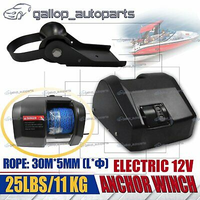 12V ANCHOR DRUM WINCH FISHERMAN Model 25 Fit Boats up to 11kg, Rope 30m