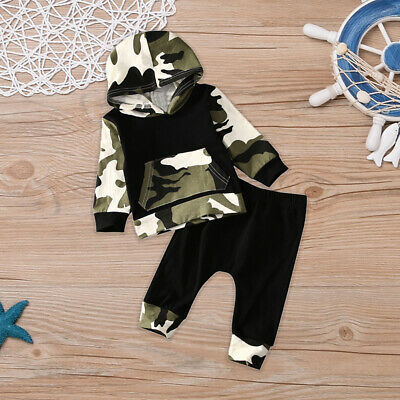 New Tops+pants Set Cute Baby Sleeve Boy Kids Hooded Clothes Toddler Girl Unisex