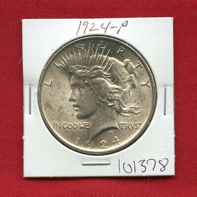 1924 Peace Us Silver Dollar #101378 Brilliant Uncirculated Ms+ Mint State Estate