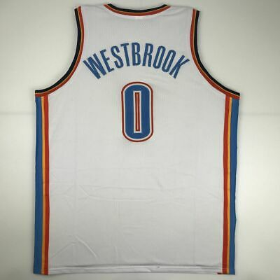 be3eb896e81 New RUSSELL WESTBROOK Oklahoma City White Custom Stitched Basketball Jersey  XL