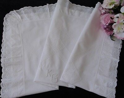 """Antique Victorian French Chateau Romantic Frilled """"kg"""" Monogrammed Pillowcase"""