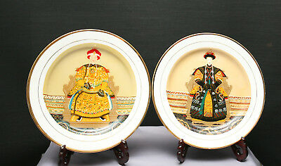 Pair Of Vintage  Original Chinese Oil Painting On Porcelain Plates Circa 1982