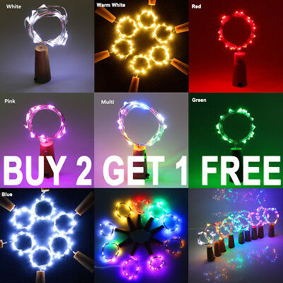 Bottle Fairy String Lights Battery Cork Shaped Christmas Wedding Party 10/20 LED