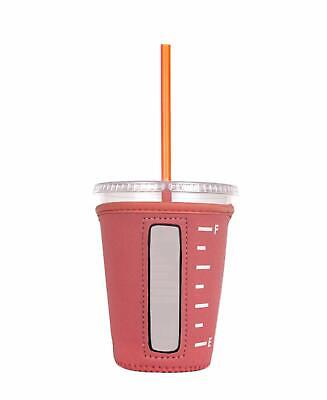 Insulated Neoprene Cup Sleeve/Holder for Iced Beverages Coffee Tea (Coral Small)