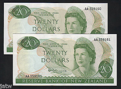 NEW ZEALAND P-167a.  (1967) Twenty Dollars - 1st Prefix AA..  aU-UNC CONSEC Pair