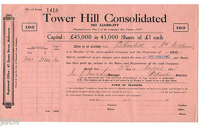 Australia - Share Scrip. 1923 Tower Hill Consolidated N/L.. (Tasmania)