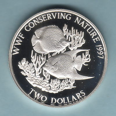 Bahamas. 1997 2 Dollars.. World Wildlife Fund - Fish.. Proof
