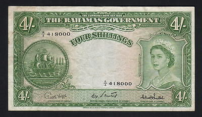 Bahamas P-13c. (1953) Four Shillings.. Sweeting/Bethel.. QE.11 Portrait.. VF+