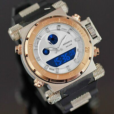 Infantry Mens Digital Quartz Wrist Watch Date Stopwatch Rubber Sport Army Golden