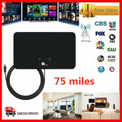 1byone TV Antenna 100 Miles Digital Freeview HDTV Signal Aerial Signal Booster