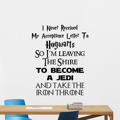 Harry Potter LOTR Star Wars Game Of Thrones Wall Decal Quote Vinyl Sticker 157ar