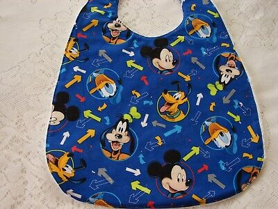Mickey & Friends Blue Baby Bib Cotton Front Towelling Back Handmade