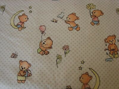 Flannelette Fitted Teddy Days White Cot Sheet Handmade