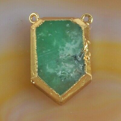 Australia Natural Chrysoprase Connector Gold Plated T075339