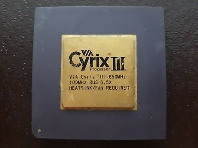 1X Cyrix Iii Via 650Mhz``  Vintage Ceramic Cpu For Gold Scrap Recovery Rare ``