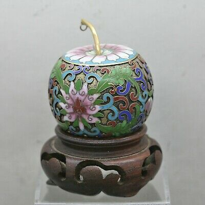 Beautiful Vintage Chinese Hand Sculpted Cloisonne Decorative Apple Wooden Stand