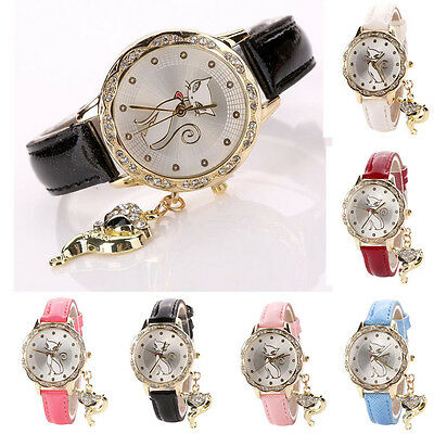 Women's Girl Faux Leather Cat Watch Diamond Analog Quartz Casual Wrist Watches