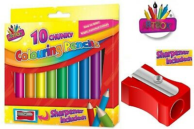 10 Chunky Colouring Pencils Bright Assorted Colours Easy Grip + Sharpener